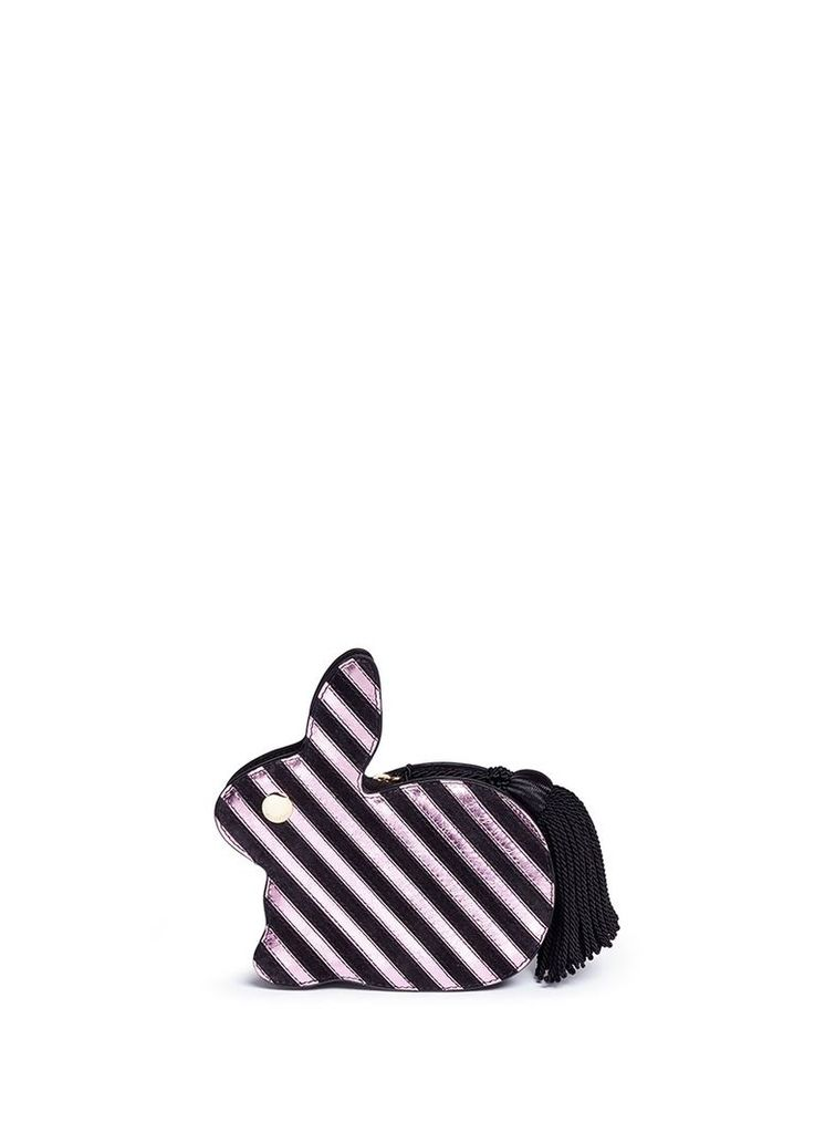 'Bunny' tassel pull stripe leather and suede clutch
