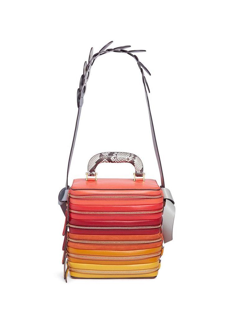 'Stack Circle' six zip leather bag