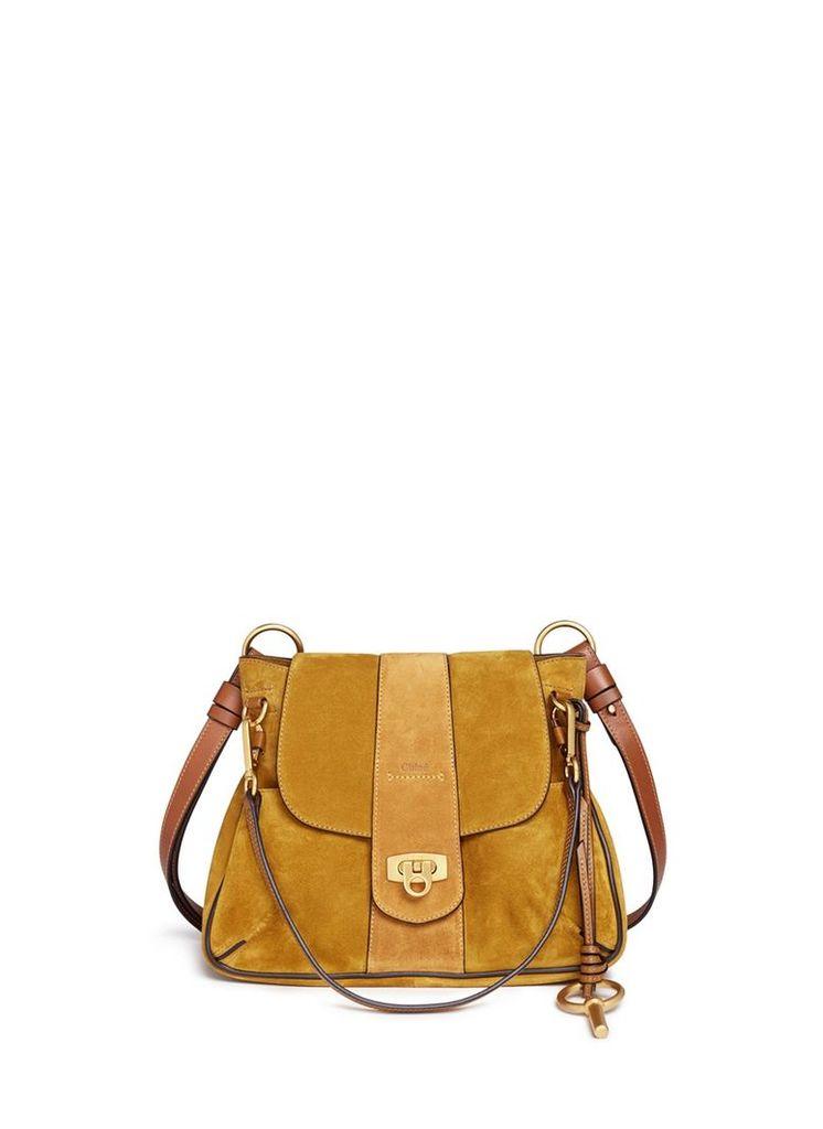 'Lexa' small suede shoulder bag