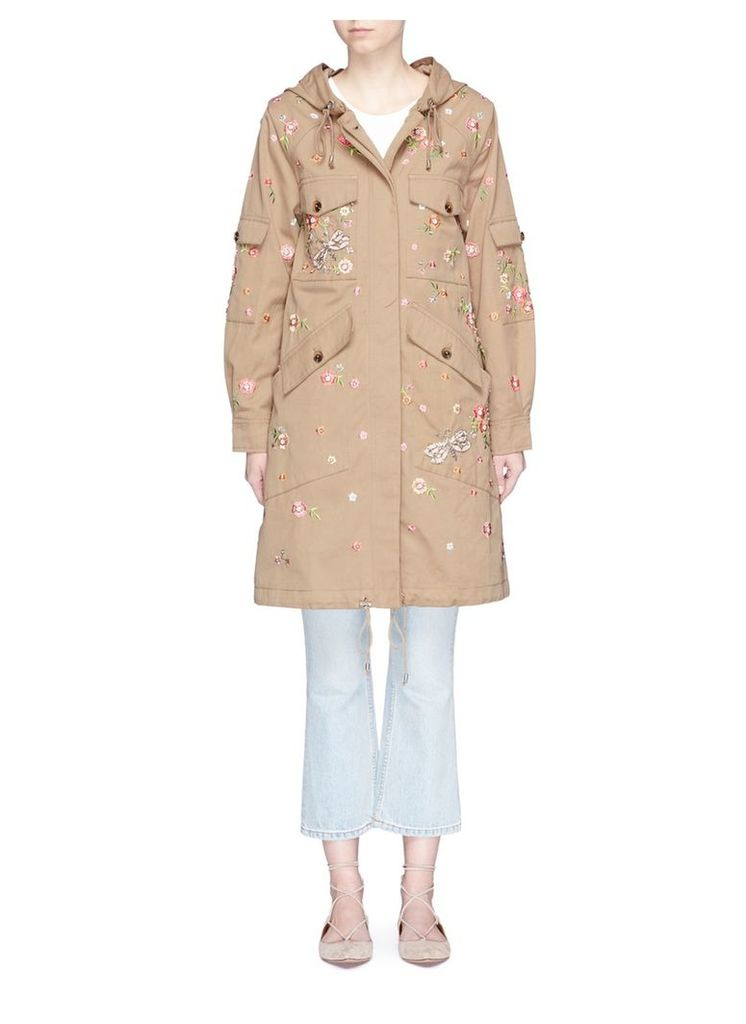 'Military Dragonfly' floral embroidered parka