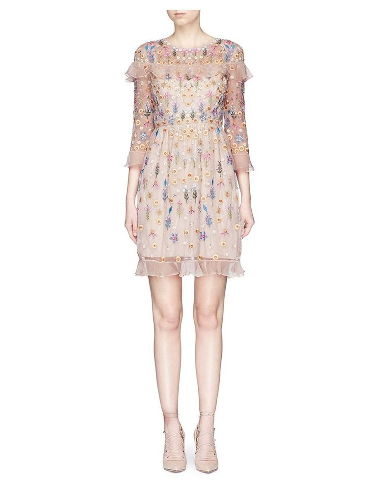 'Flowerbed' beaded floral embroidered tulle dress