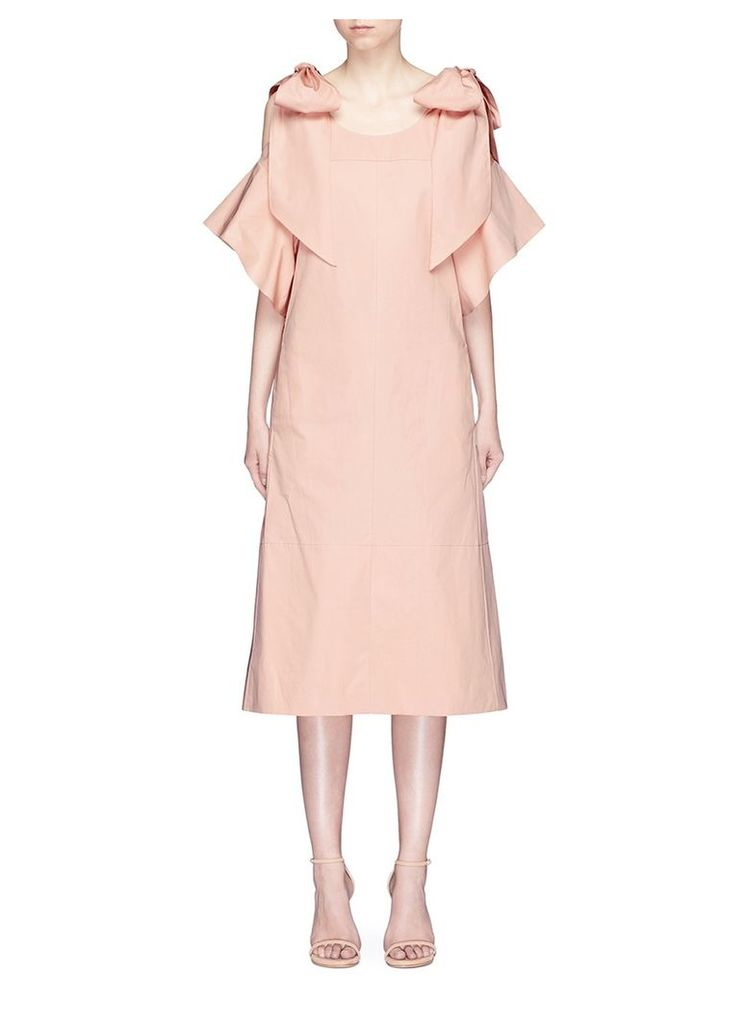 Knotted cold shoulder poplin dress