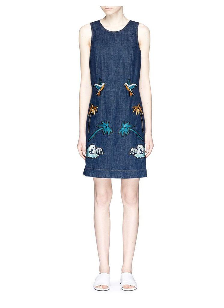 'Okinawa' motif embroidered denim shift dress
