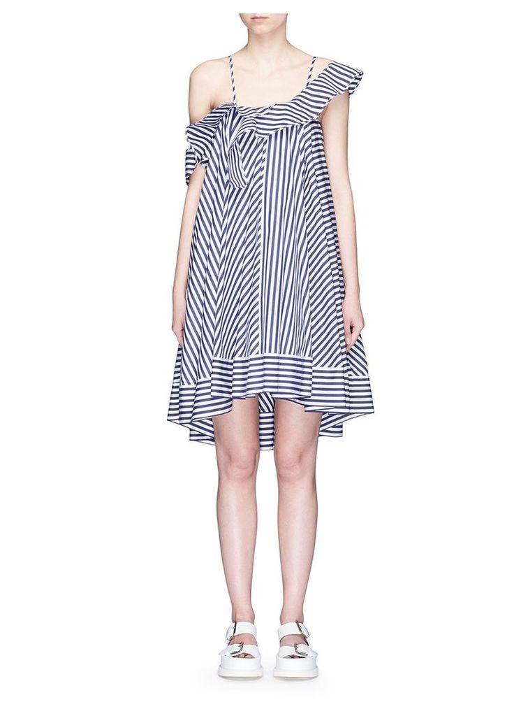 Asymmetric ruffle stripe cotton dress