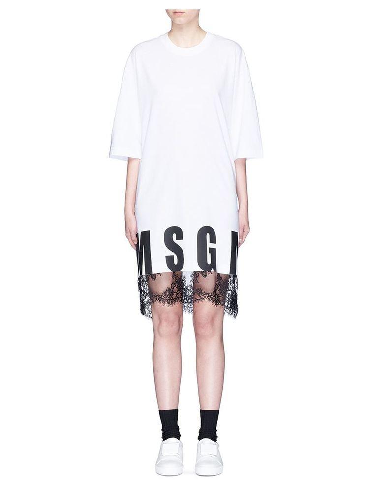 Logo print lace hem cotton T-shirt dress
