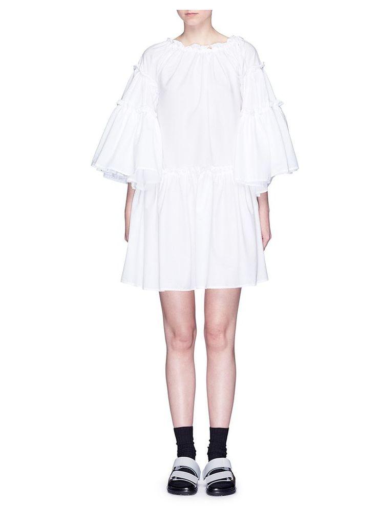Ruffle cotton cloqué dress