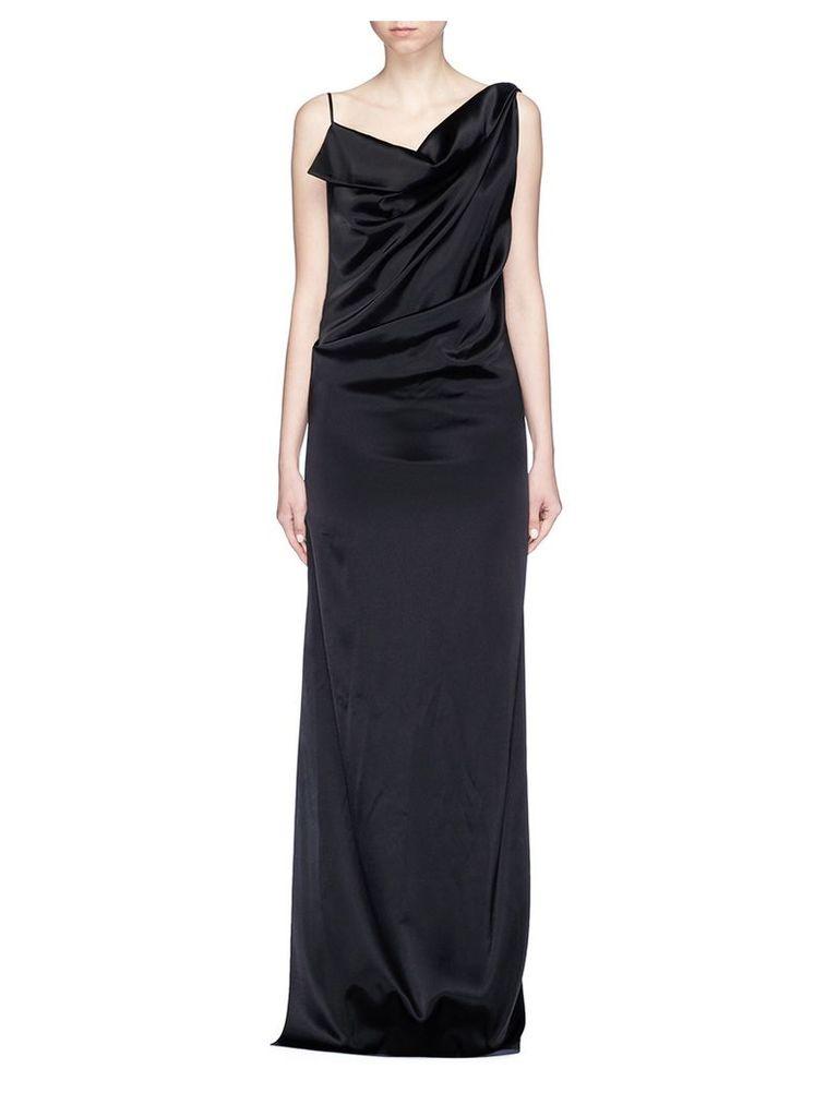 Open back asymmetric drape satin dress