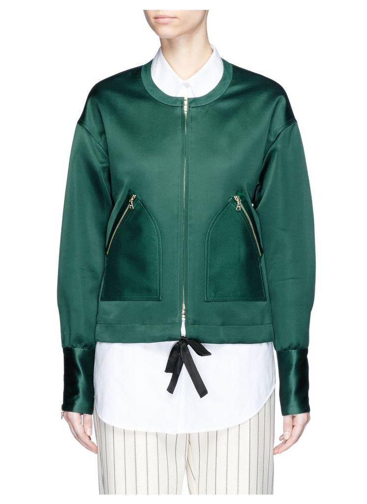 Tie front collarless satin bomber jacket