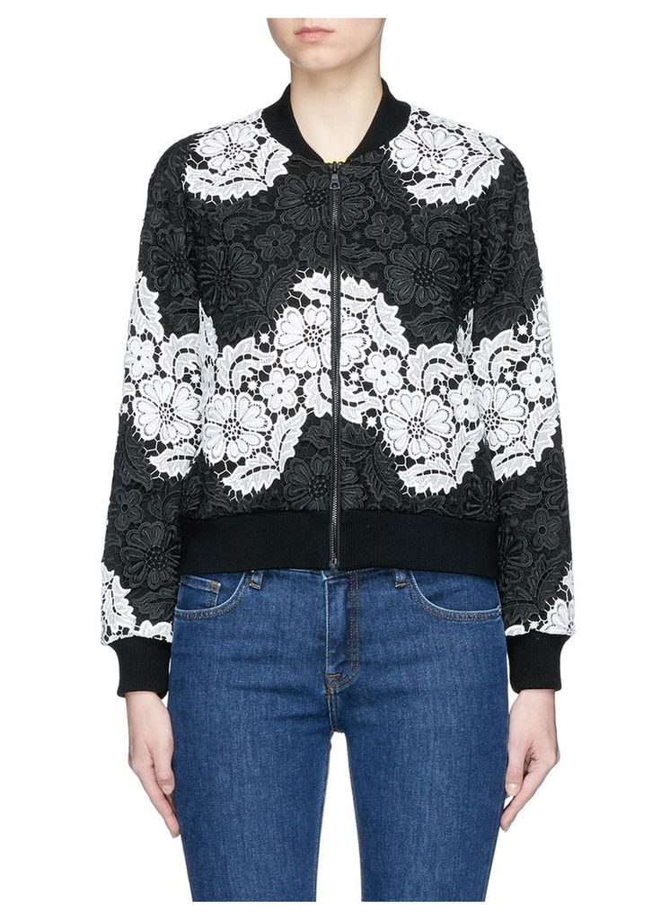 'Felisa' floral guipure lace bomber jacket