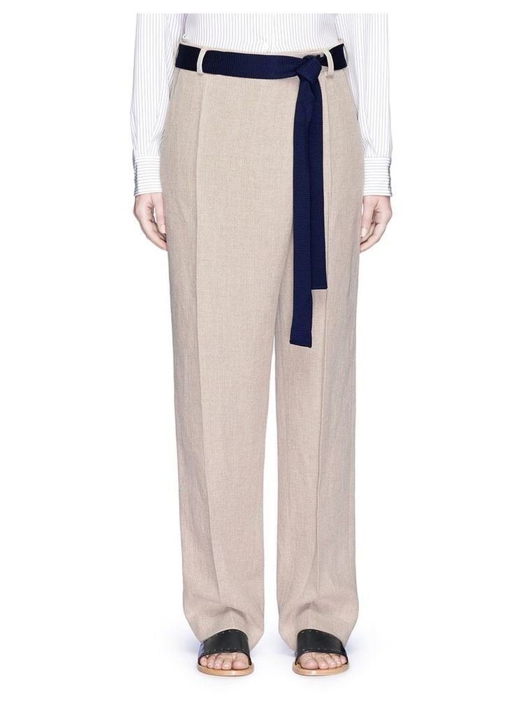 Foldover front relaxed linen pants