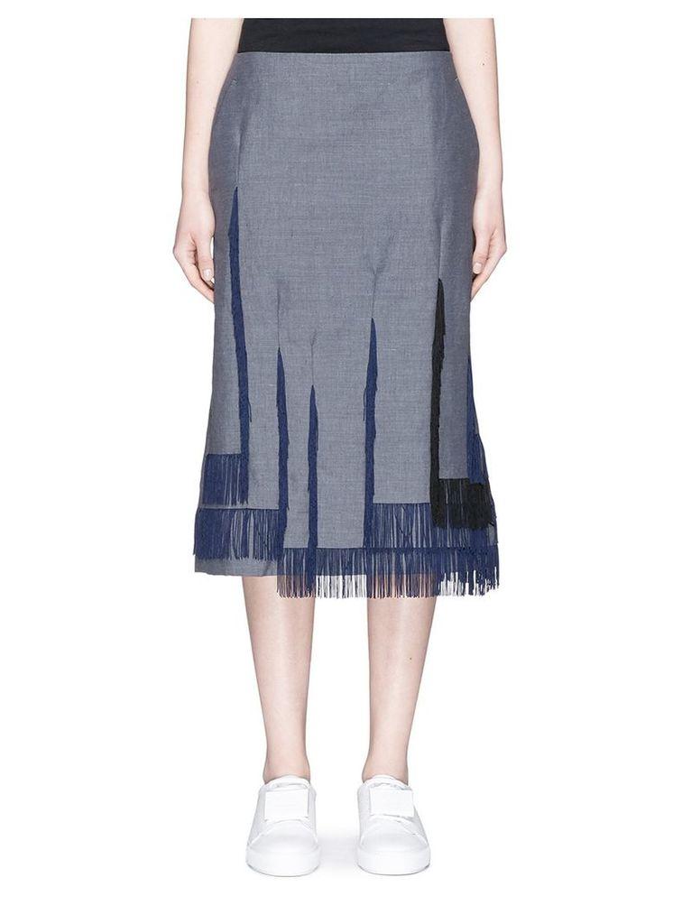 Asymmetric fringe hopsack skirt