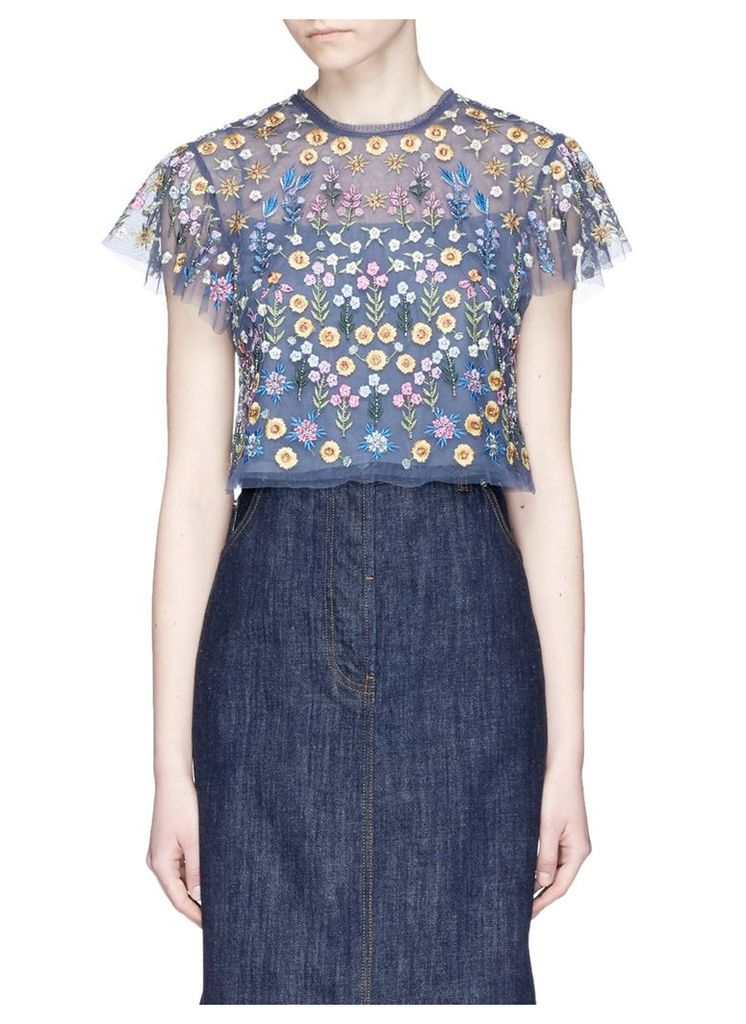 'Flowerbed' embroidered tulle cropped top