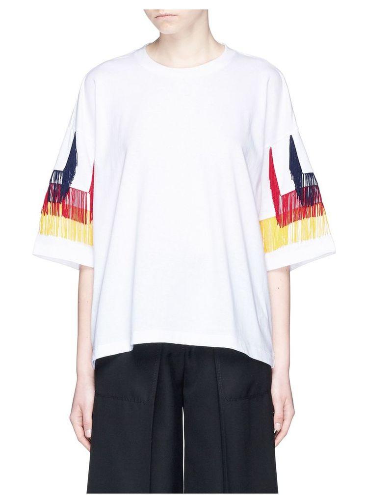 Tiered fringe sleeve cotton T-shirt