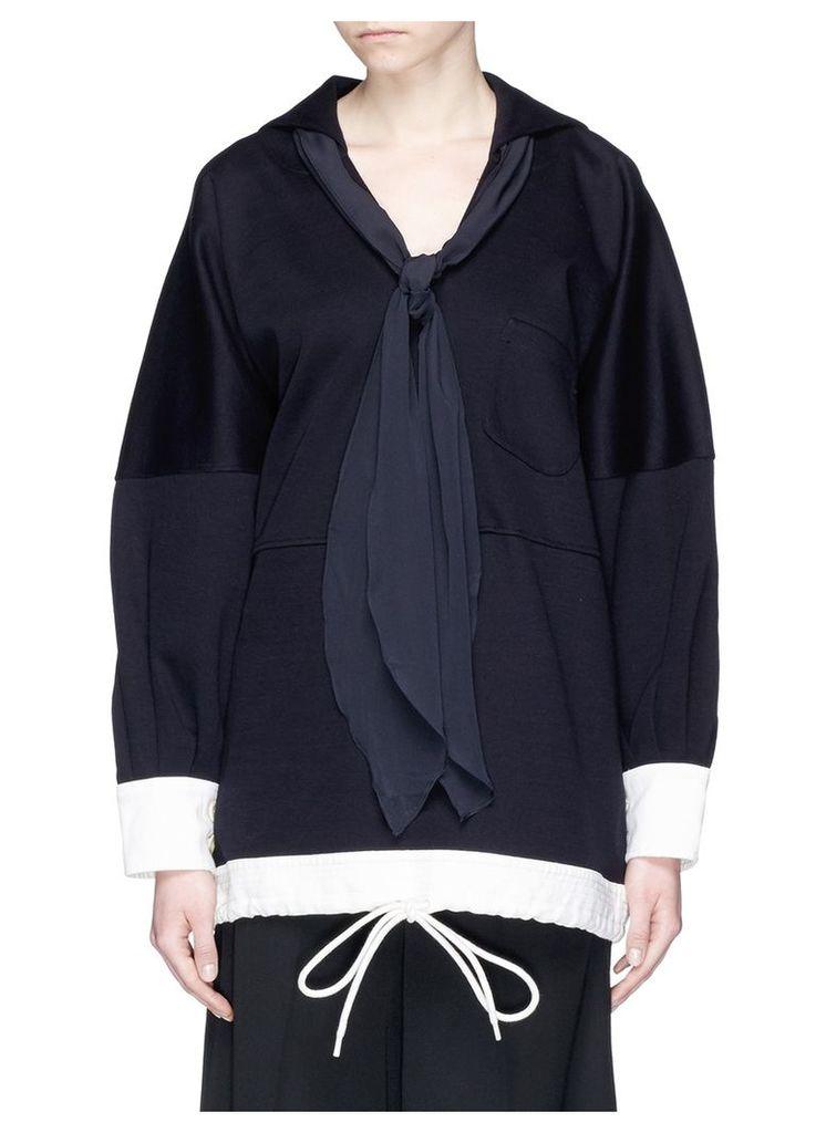 Silk scarf sailor collar oversized sweatshirt