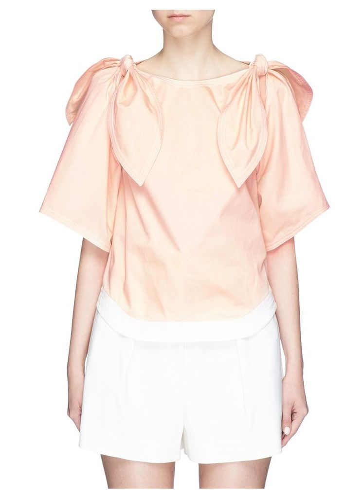 Detachable knotted sleeve cotton twill top