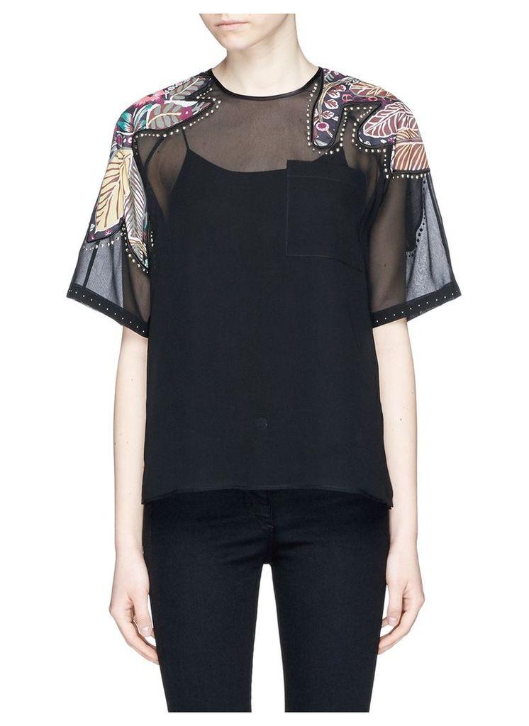 Floral patchwork sheer silk T-shirt
