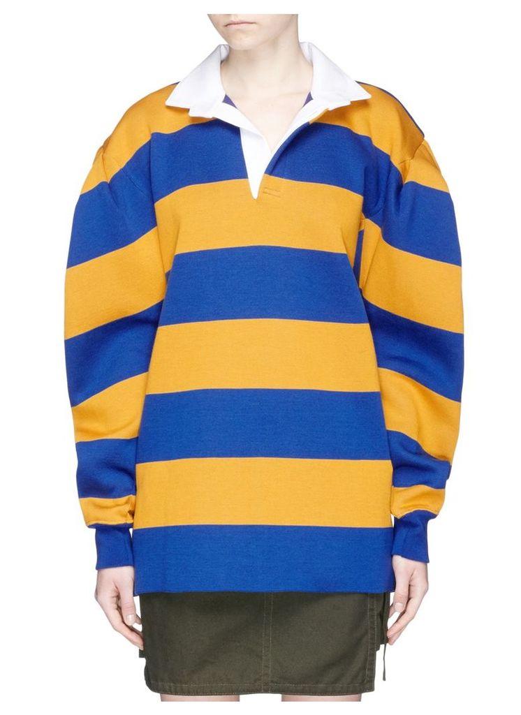 Twill collar stripe oversized rugby sweatshirt