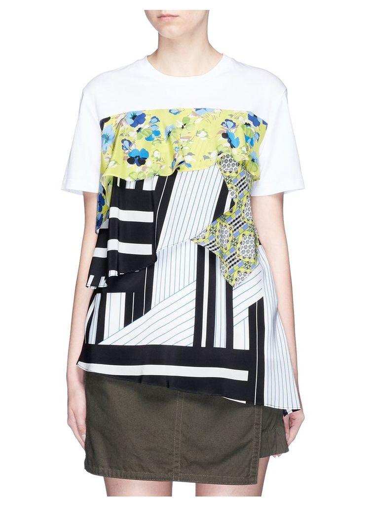 Mixed print ruffle layered T-shirt