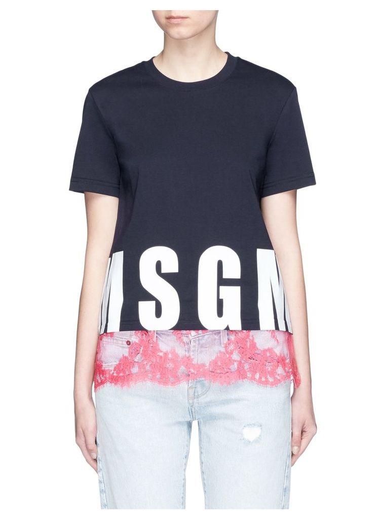 Logo print lace hem cotton T-shirt