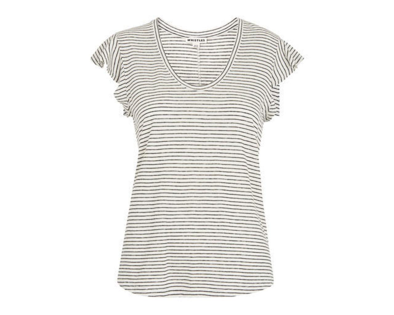 Stripe Frill Linen Top