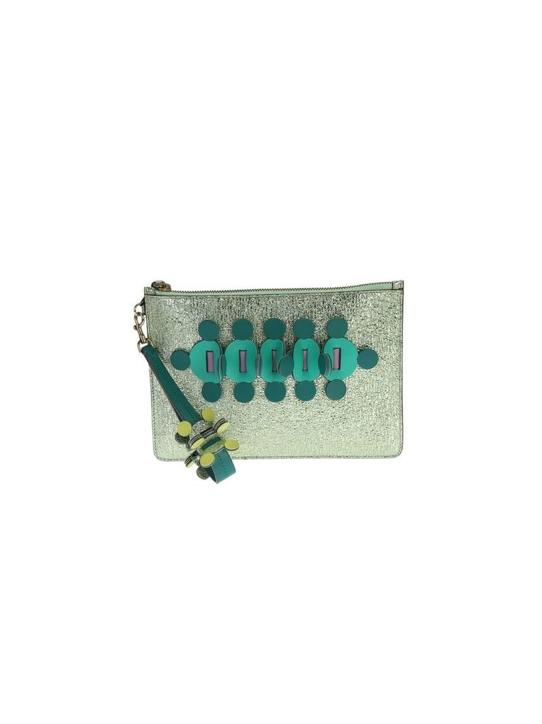 Green Glitter Leather Apex Pouch