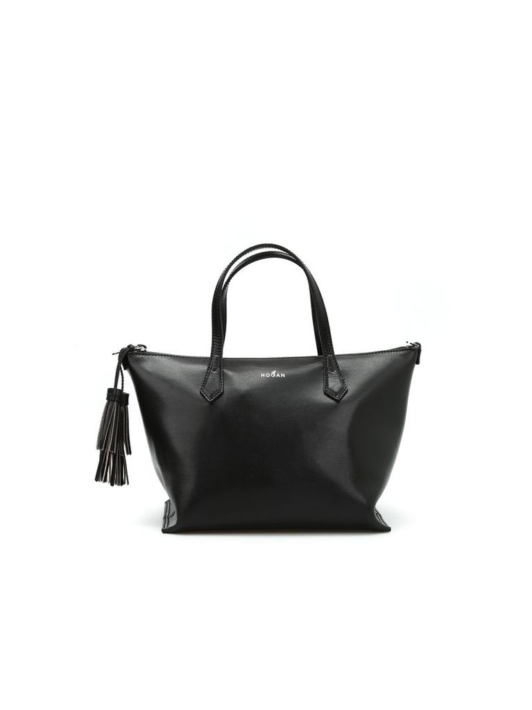 Leather Top Zip Small Tote