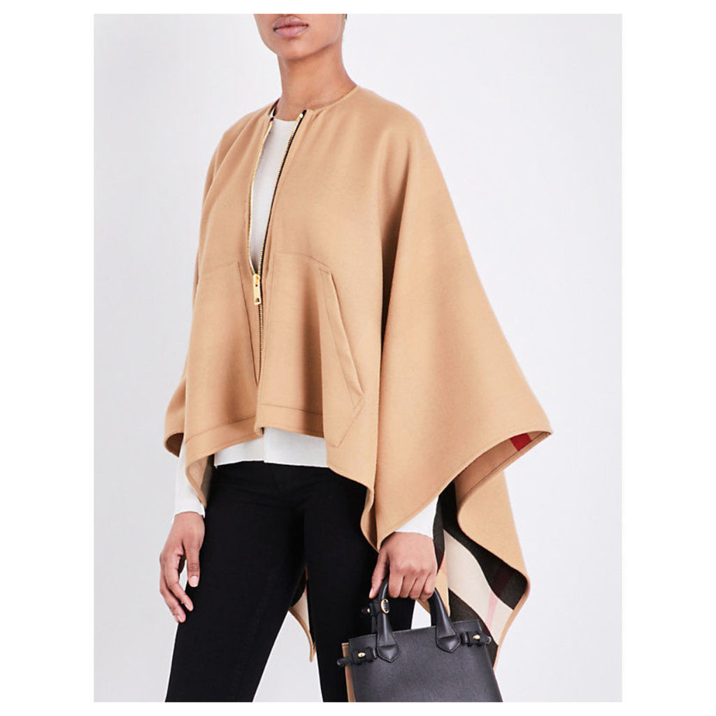 Zip-up merino wool cape