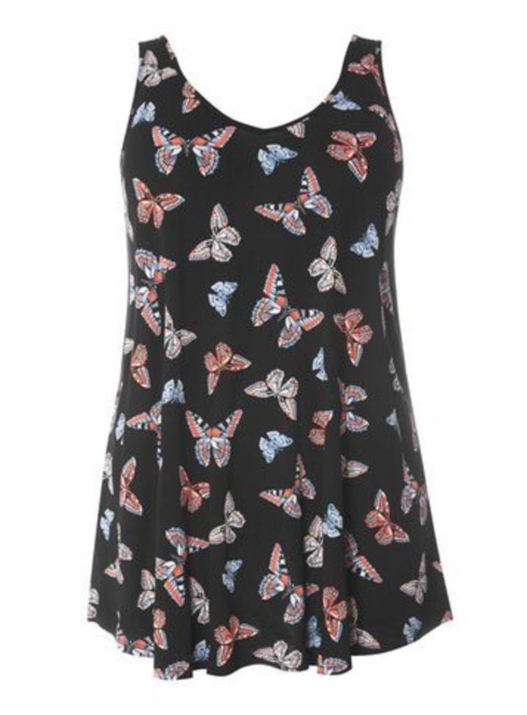 Black Butterfly Print Vest, Black