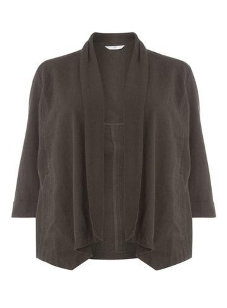 Khaki Green Linen Blend Jacket, Khaki