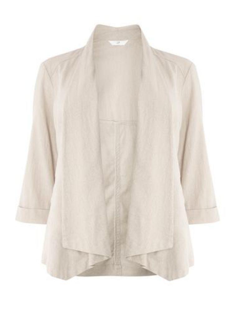 Neutral Linen Blend Jacket, Oatmeal