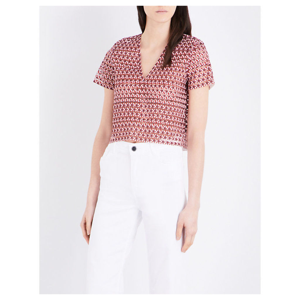Lezabel cropped semi-sheer woven top