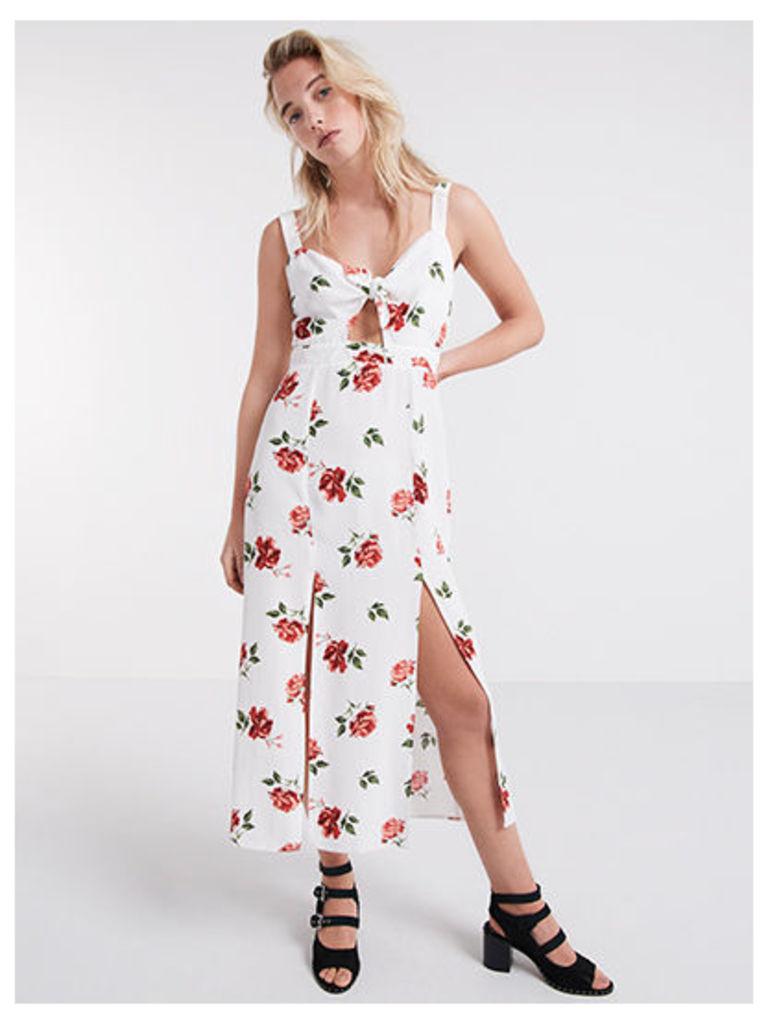 White Lexi Floral Tie Front Midi Dress