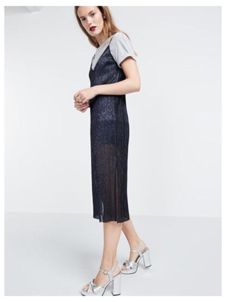 Navy Glitter Pleated Midi Slip Dress