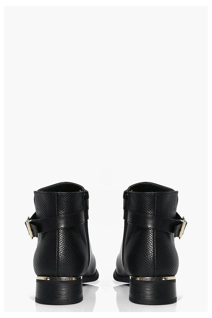 Metallic And Buckle Trim Chelsea Boot - black