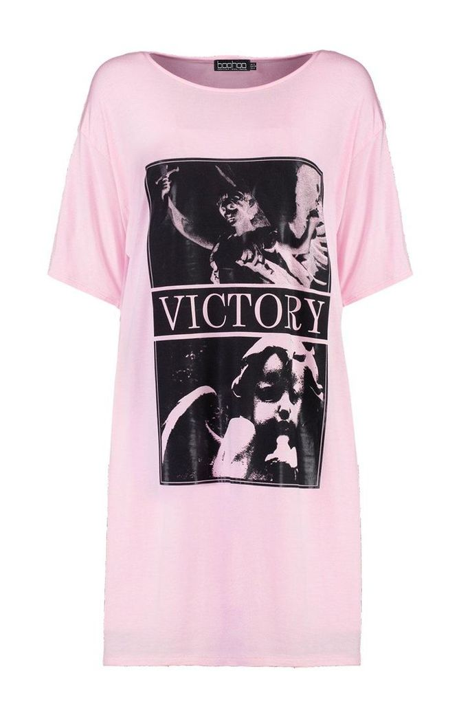 Victory Gloss Printed T-Shirt Dress - pink