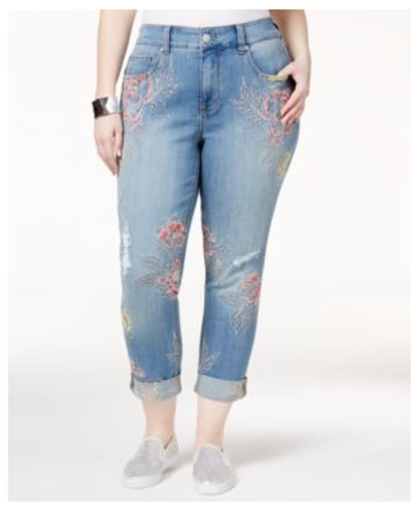 Melissa McCarthy Seven7 Trendy Plus Size Whimsical Wash Embroidered Ripped Jeans