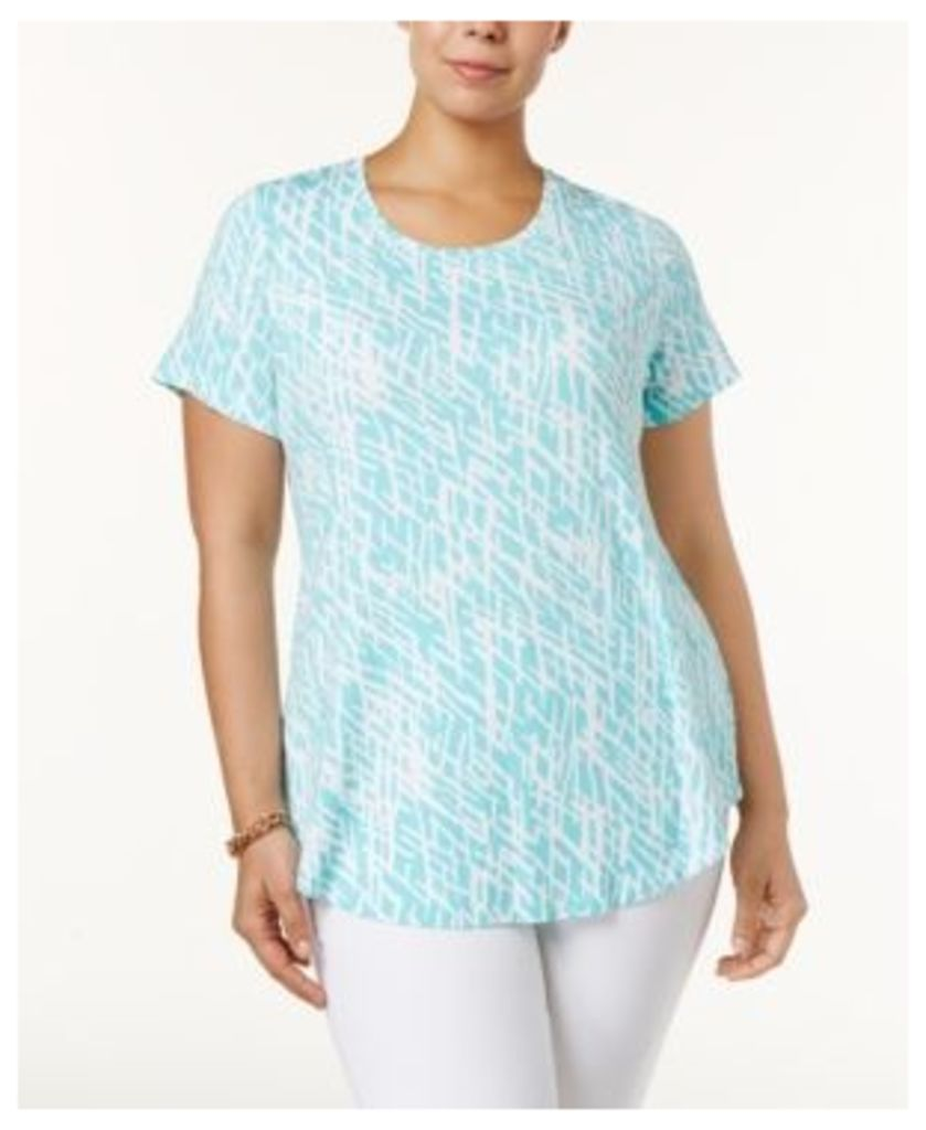 Jm Collection Plus Size Printed Short-Sleeve Top, Only at Macy's