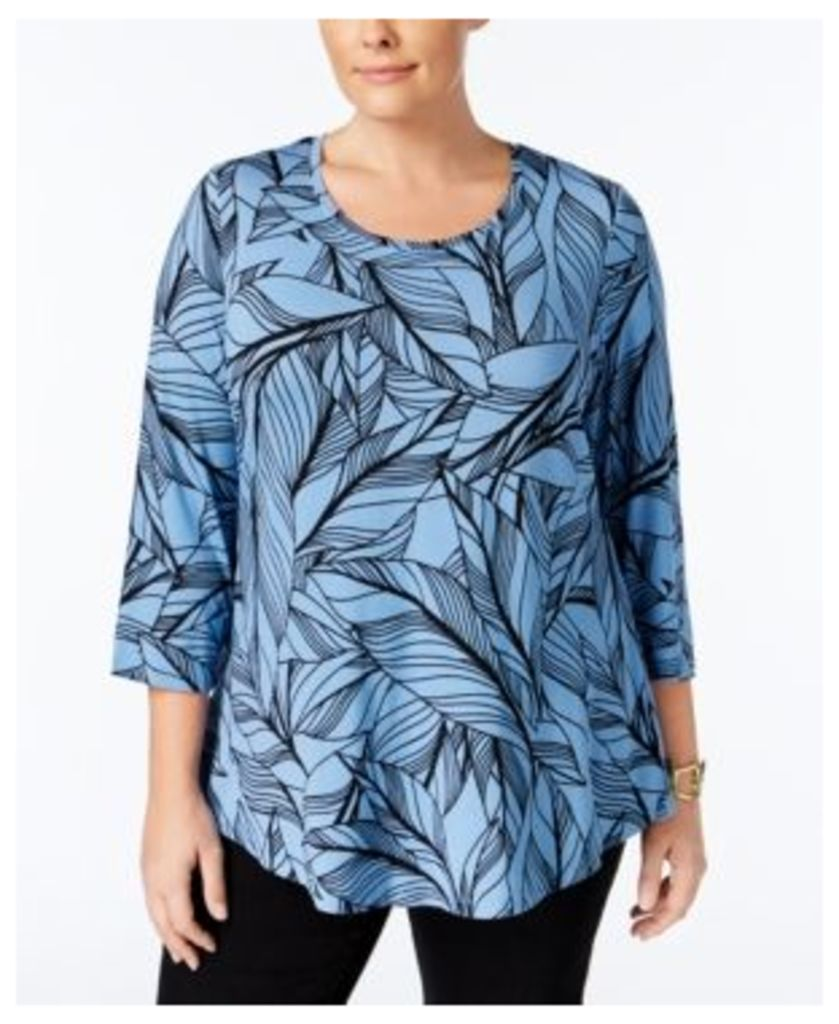 Jm Collection Plus Size Printed Swing Top, Only at Macy's