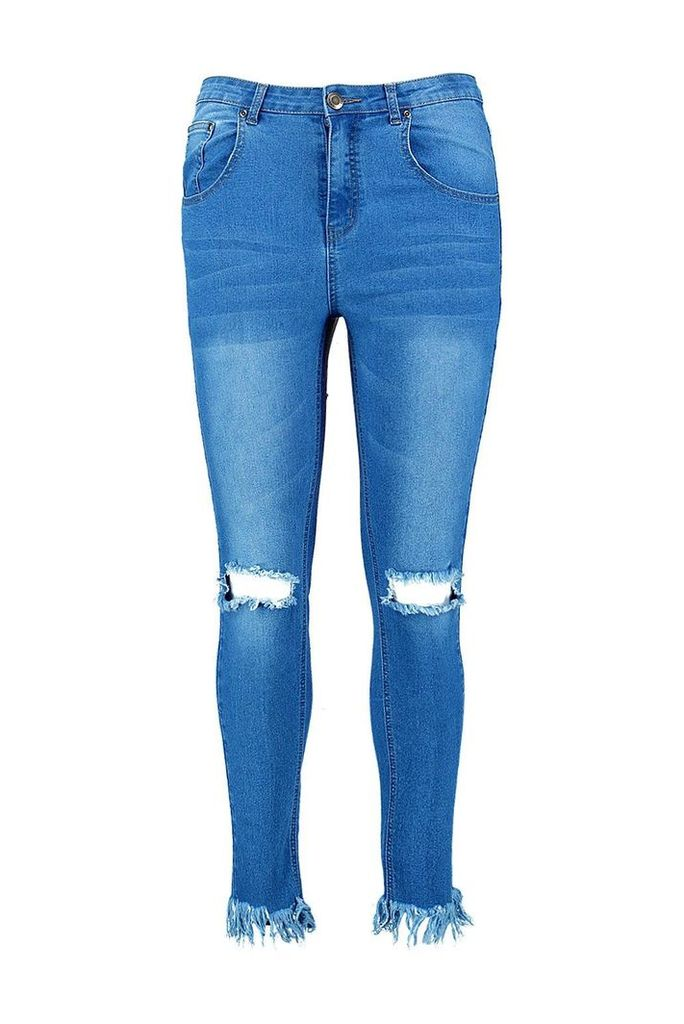 Faye Rip Knee Fray Hem Skinny Jean - blue