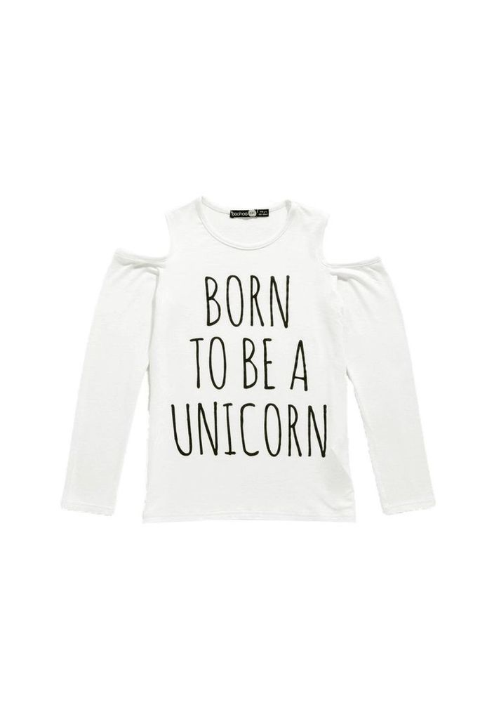 Cold Shoulder Unicorn Tee - cream