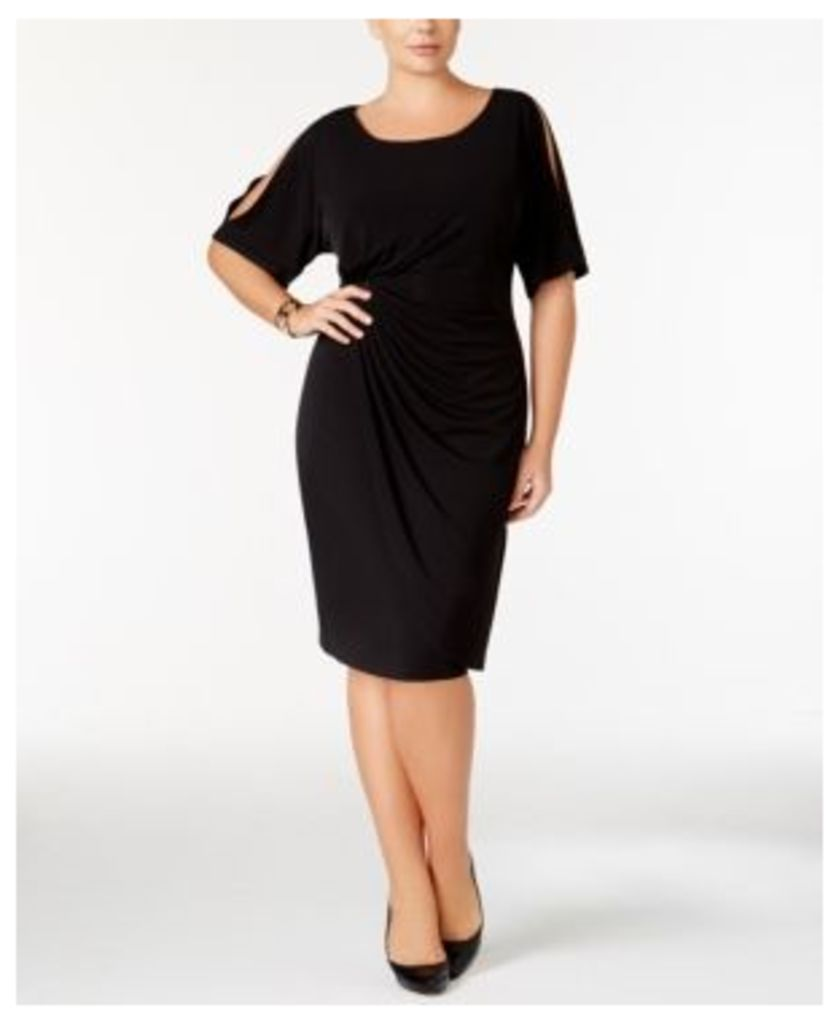 Connected Plus Size Draped Cold-Shoulder Dress