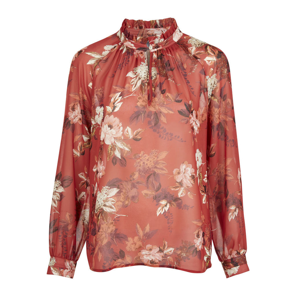 Floral Autumn Rose Ruffle Collar Blouse