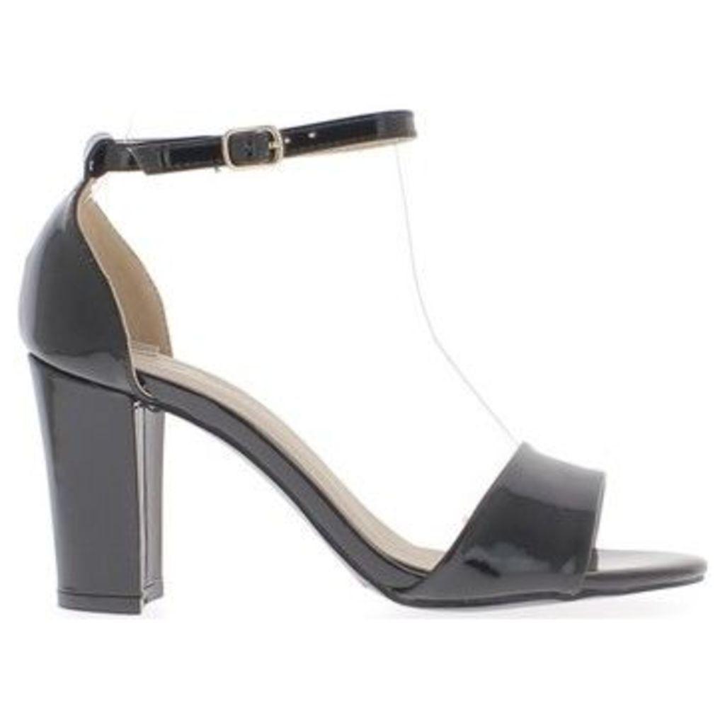 Chaussmoi  Black Sandals heel 8,5cm metallic aspect square  women's Sandals in Black