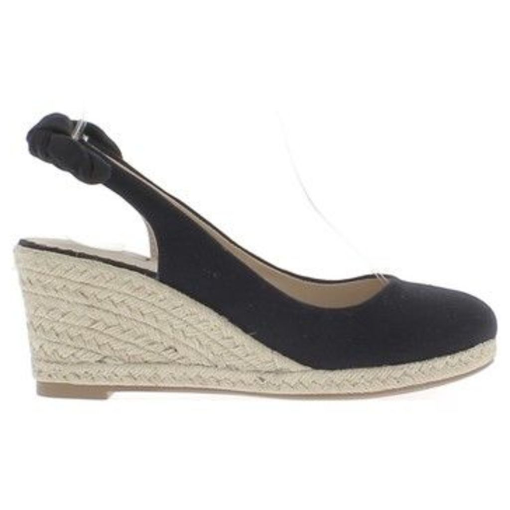 Chaussmoi  Espadrilles wedge woman black heels of 7.5 cm canvas  women's Sandals in Black