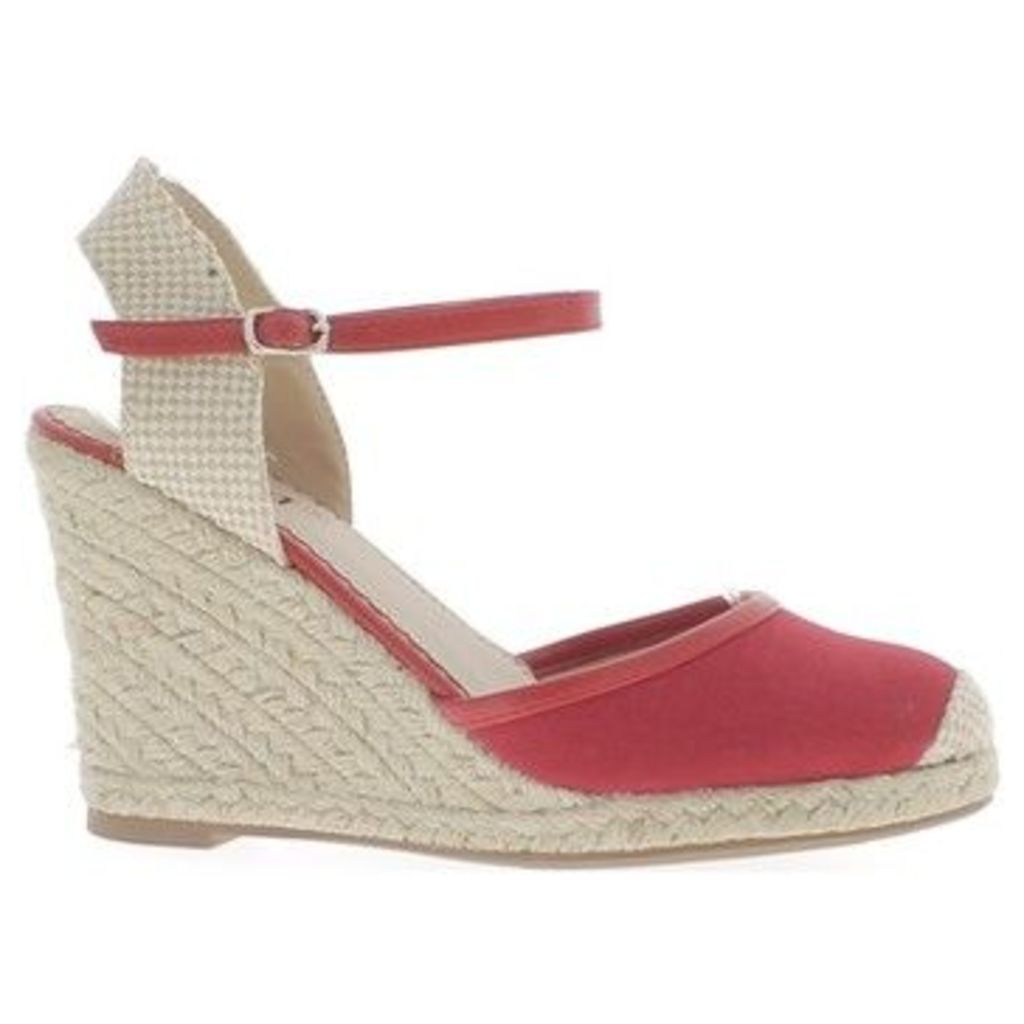 Chaussmoi  Espadrilles wedge woman red heels 10cm canvas  women's Sandals in Red