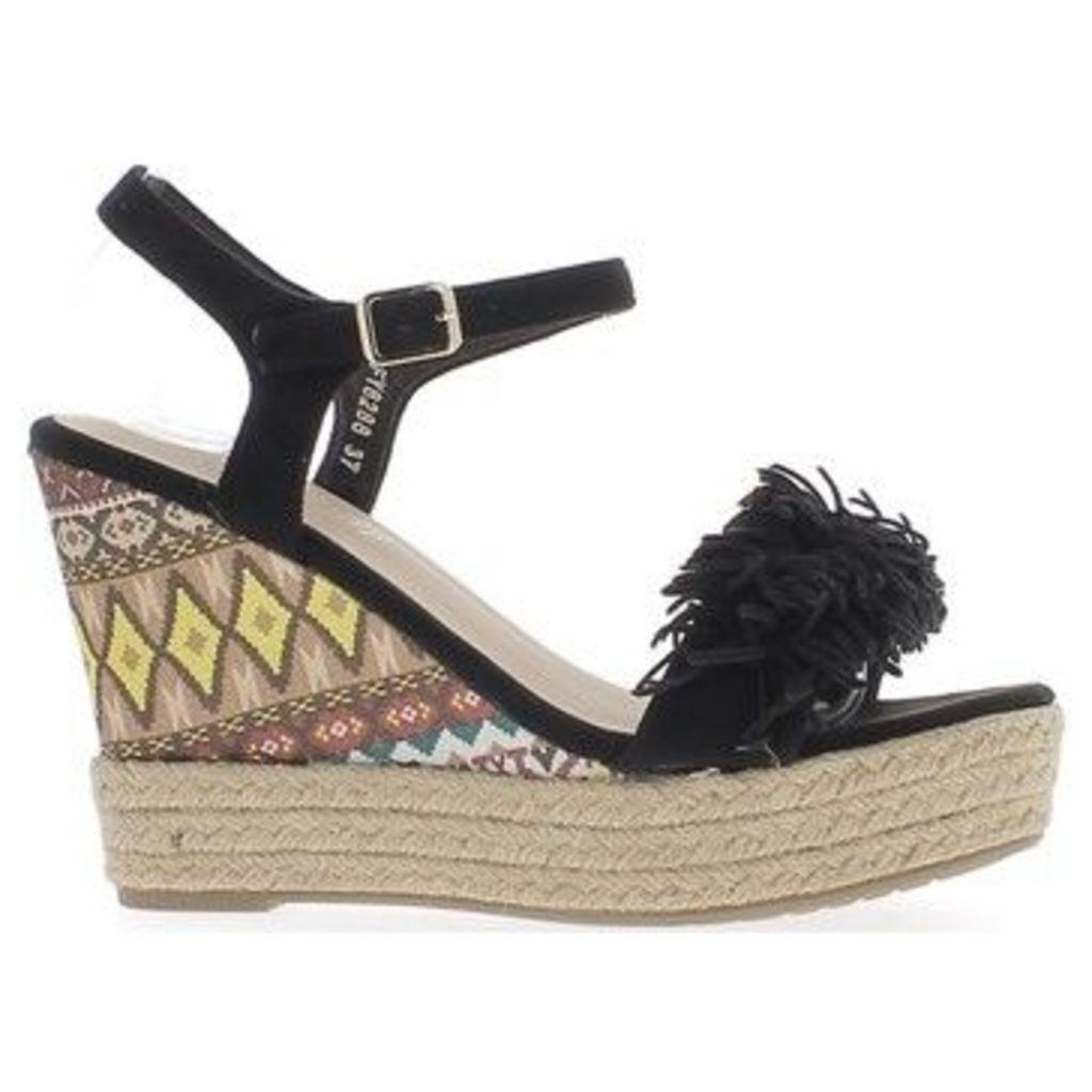 Chaussmoi  Black heels wedge Sandals 11 cm with fringe and platform  women's Sandals in Black