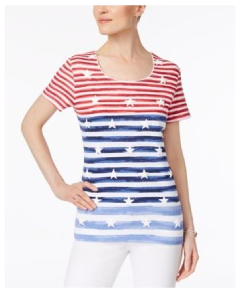Karen Scott Puff-Print Striped Top, Only at Macy's