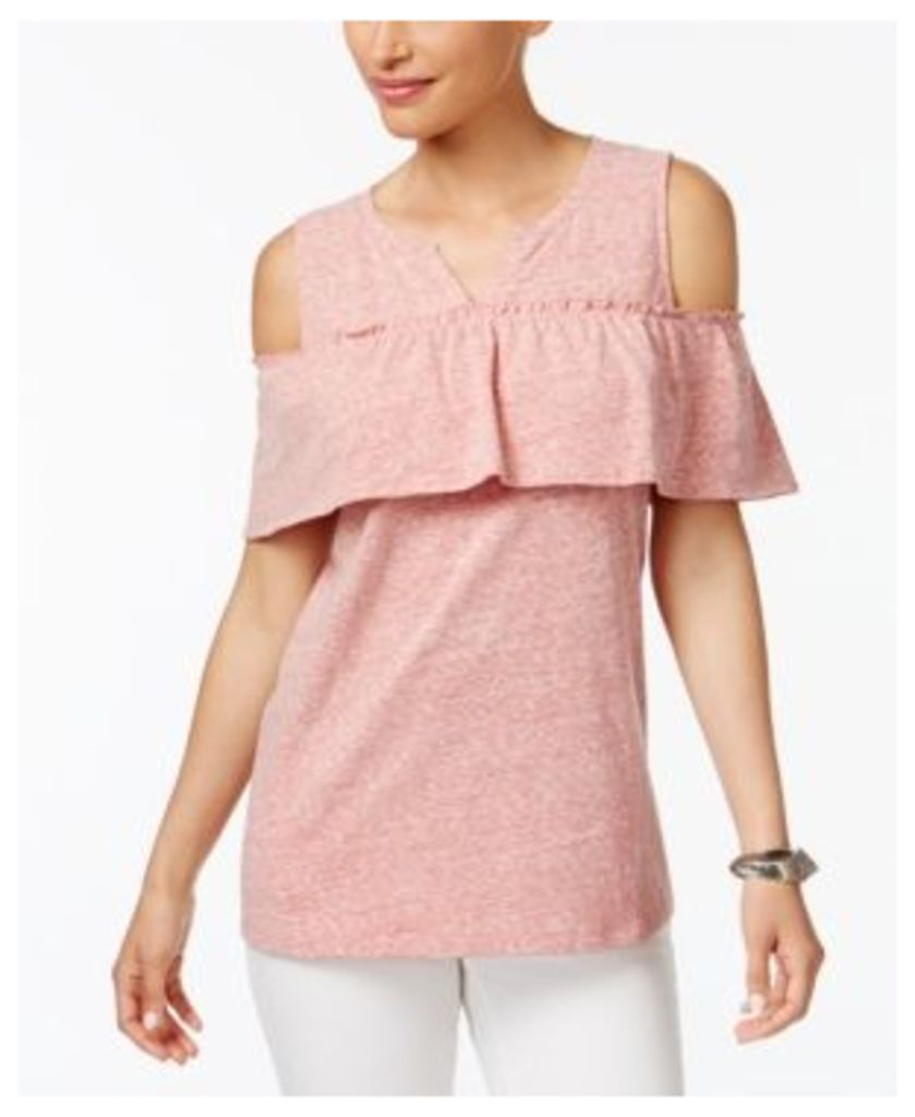 Style & Co Striped Cold-Shoulder Top, Only at Macy's