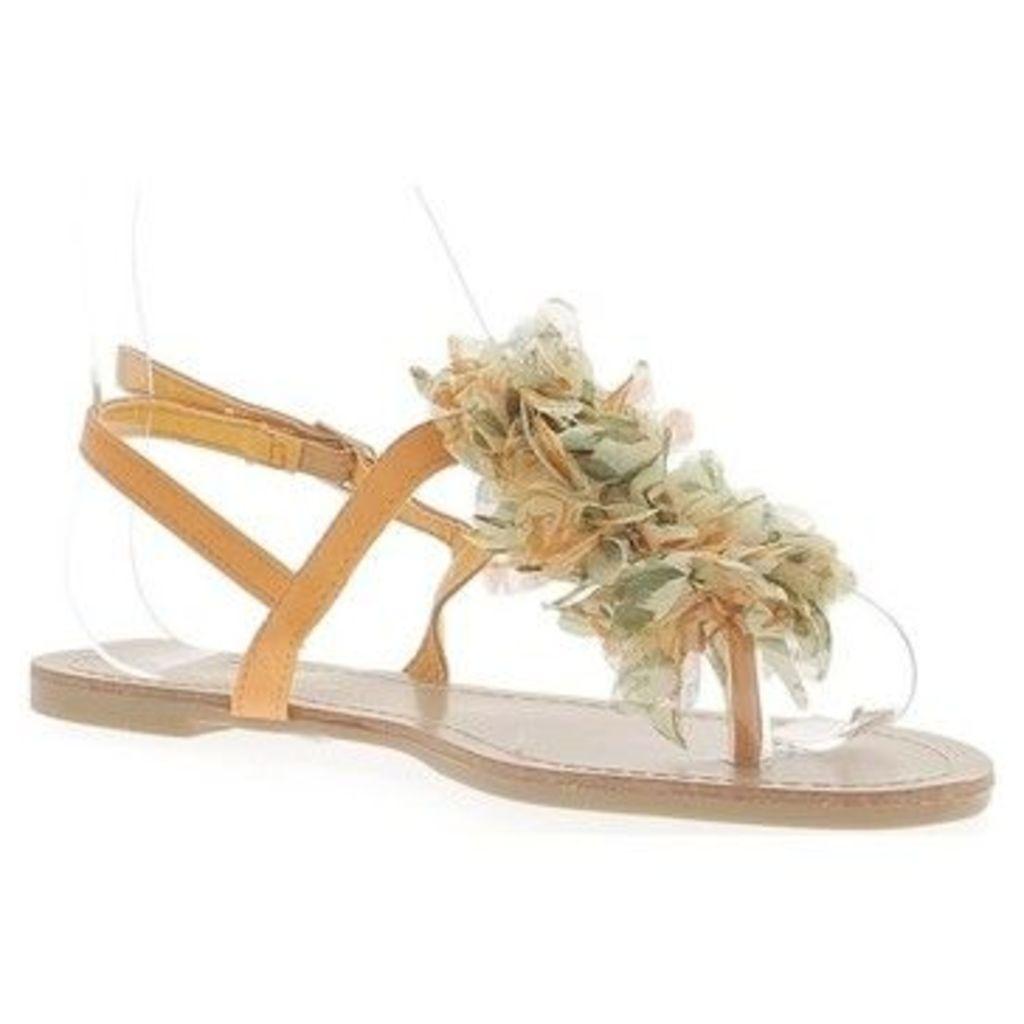 Chaussmoi  Flat orange flip-flops with between finger decoration flower fab  women's Sandals in Orange