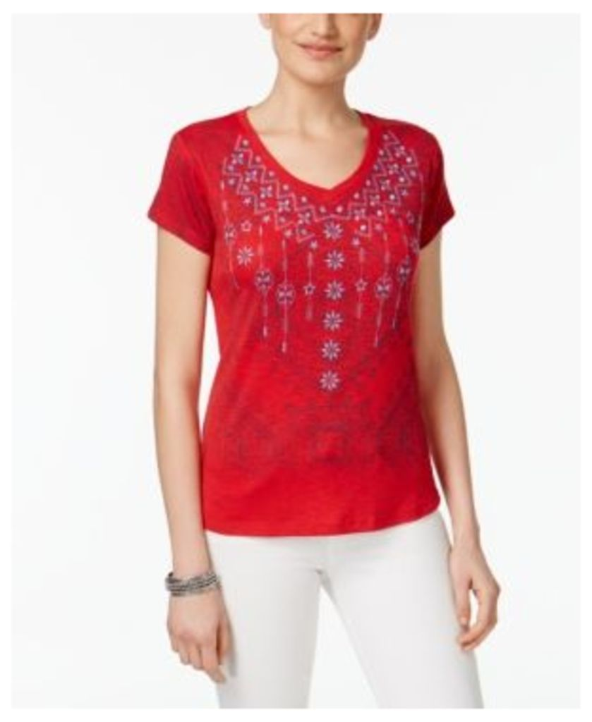 Style & Co Petite Embroidered Graphic T-Shirt, Only at Macy's